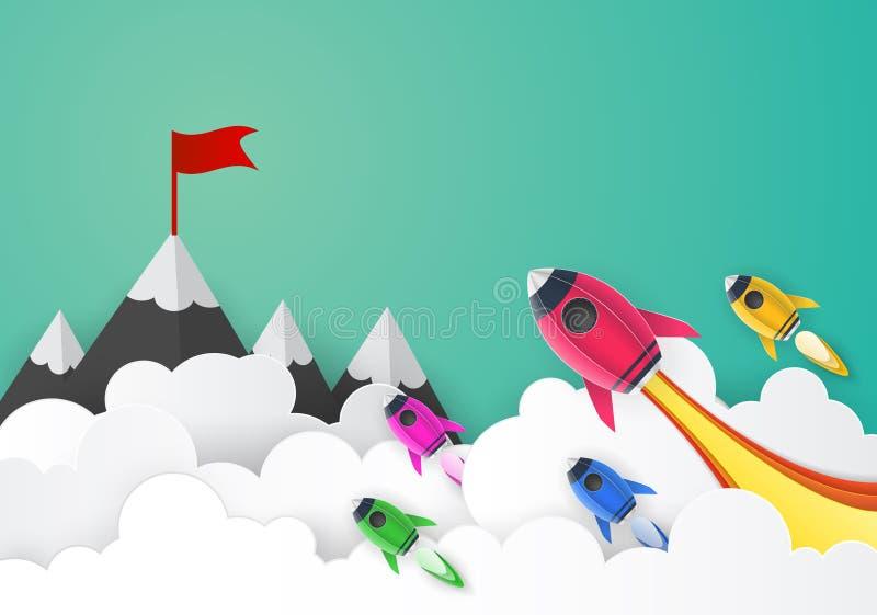 Rocket launch space paper art style ,business concept and exploration idea vector illustration
