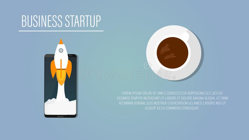Rocket launch, space ship. vector, illustration with coffe and smartphone. Concept of new business product on a market or a stratu stock illustration