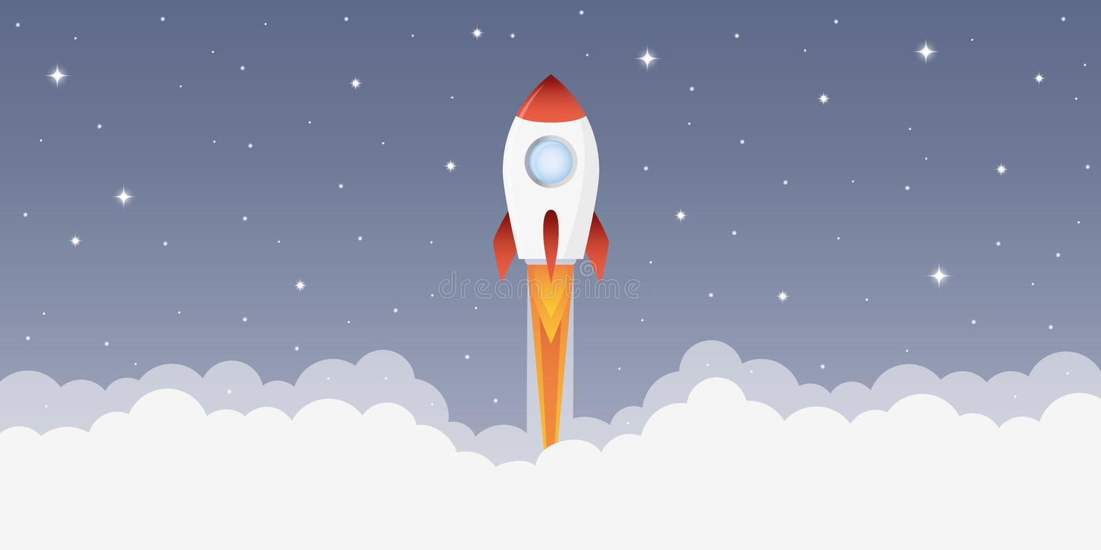 Rocket launch into space with starry sky vector illustration