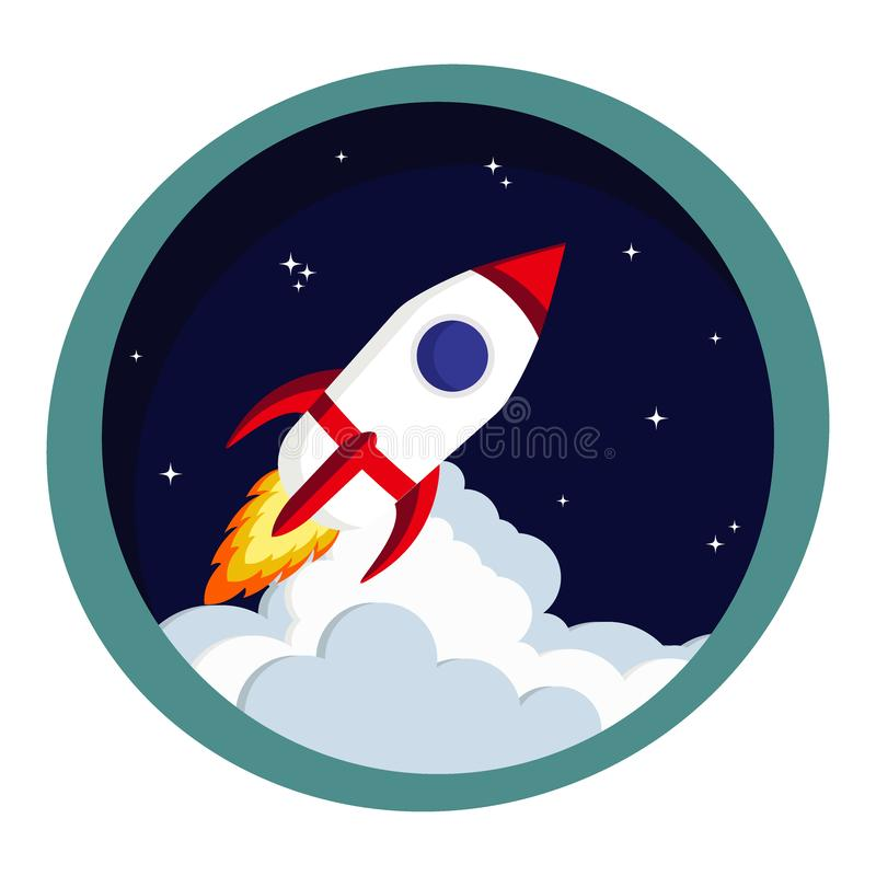 Rocket launch in space. Startup or creative idea stock illustration