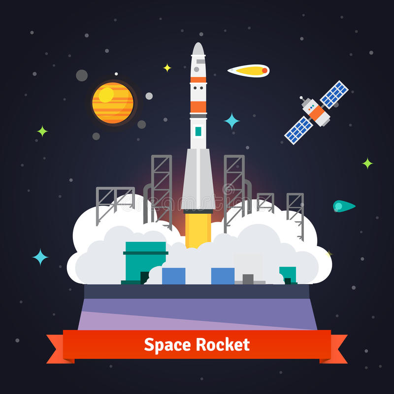 Rocket launch from spaceport pad stock illustration