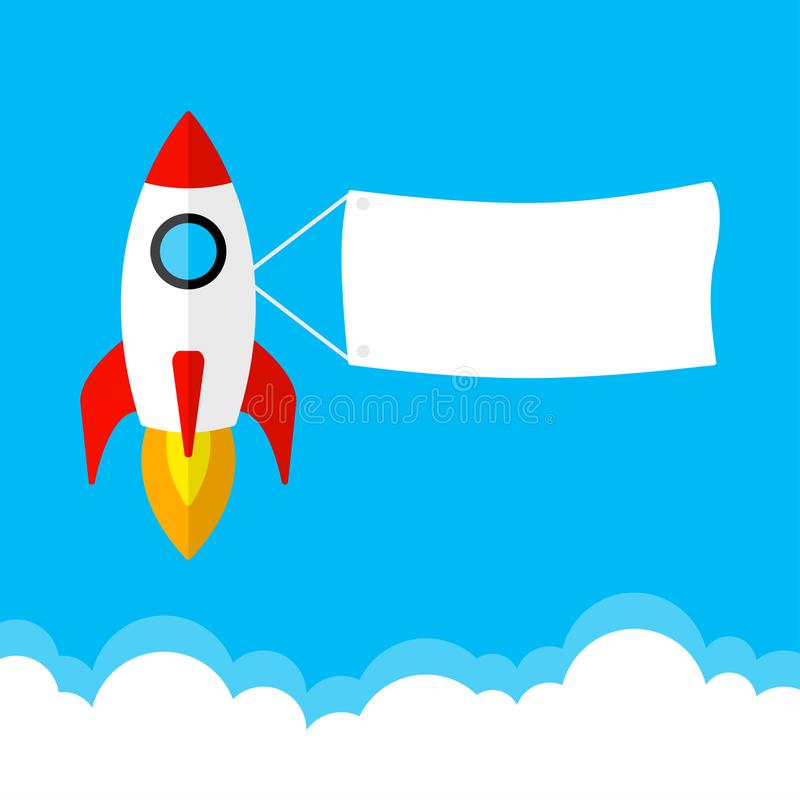Rocket launch, start up business concept.. Vector illustration royalty free illustration