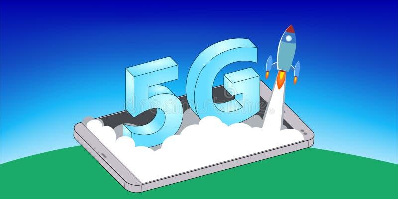 Rocket Launch sul telefono cellulare 5G fotografia stock