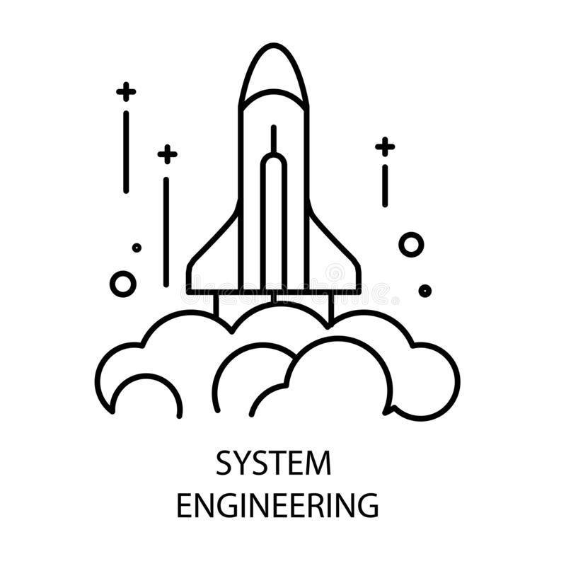 System engineering and rocket launch isolated outline icon vector illustration