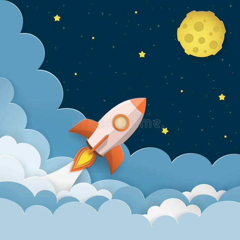 Rocket launch to the Moon. Cute space background with stars, moon, rocket, clouds, smoke. Night sky background with flying rocket. vector illustration