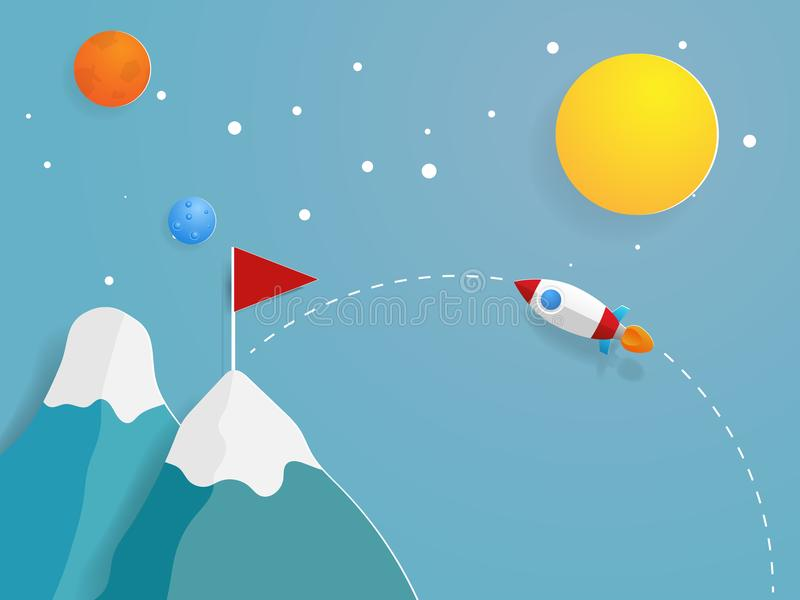 Rocket launch to red flag target vector illustration