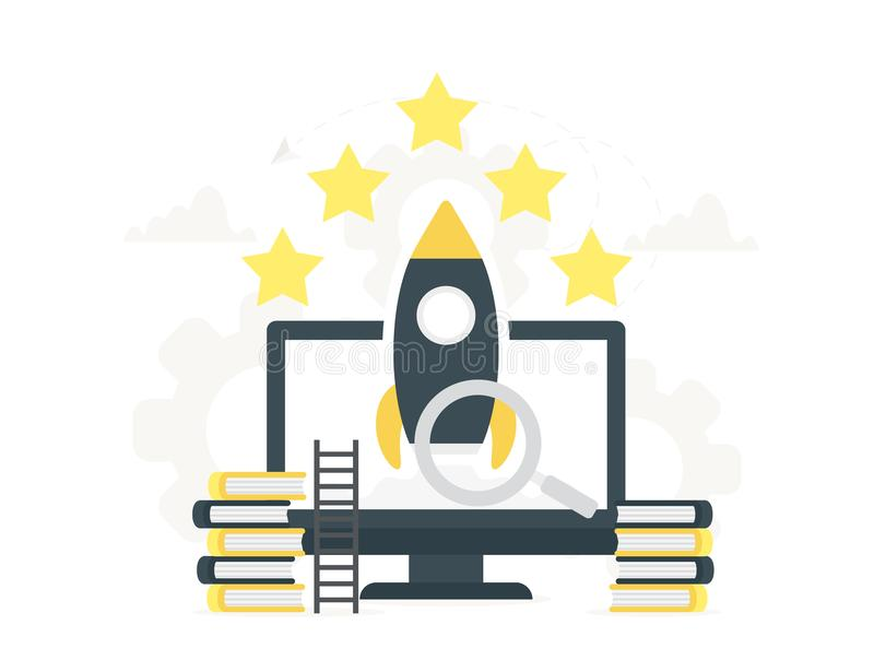 Rocket launch to the sky from the large computer up to the stars. Startup concept and internet learning. Monitor with. Vector illustration flat design rocket stock illustration