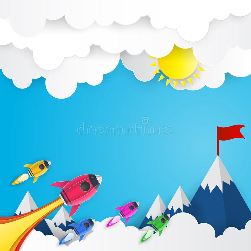 Rocket launch to success paper art style, business concept and e stock illustration
