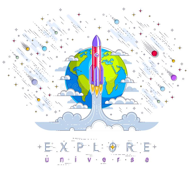 Rocket launch into undiscovered space with planet earth in background, surrounded by comets, asteroid, meteors and stars. Explore vector illustration