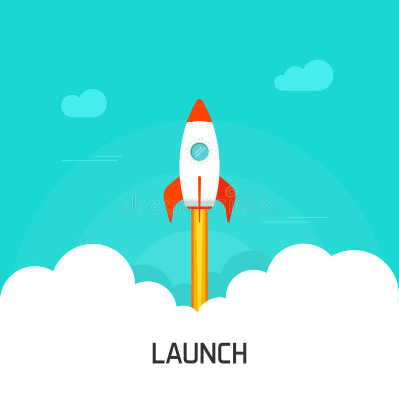 Rocket launch vector illustration, concept of business project start-up vector illustration