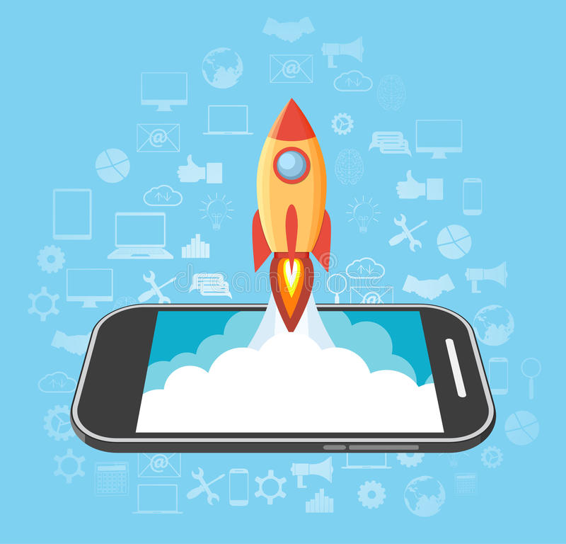 Rocket launched from the phone. royalty free illustration