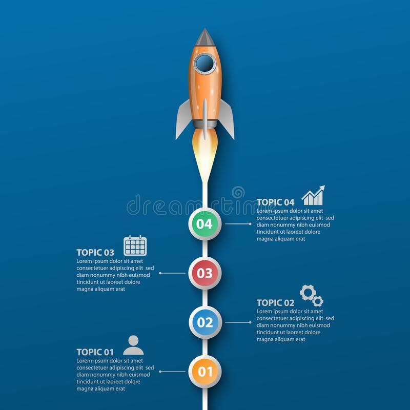 Rocket launches, infographic template. Vector illustration vector illustration
