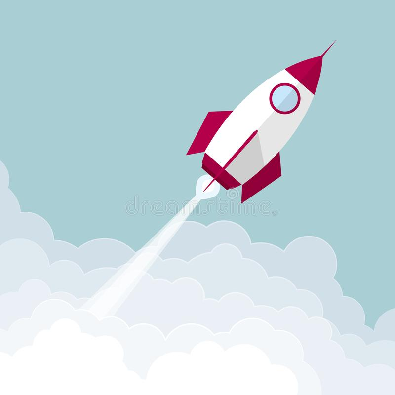 The rocket launches in mid-air. royalty free illustration