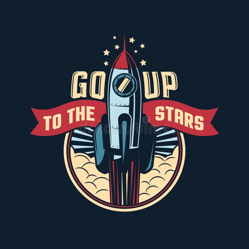 The rocket launches into space badge emblem in retro style stock illustration