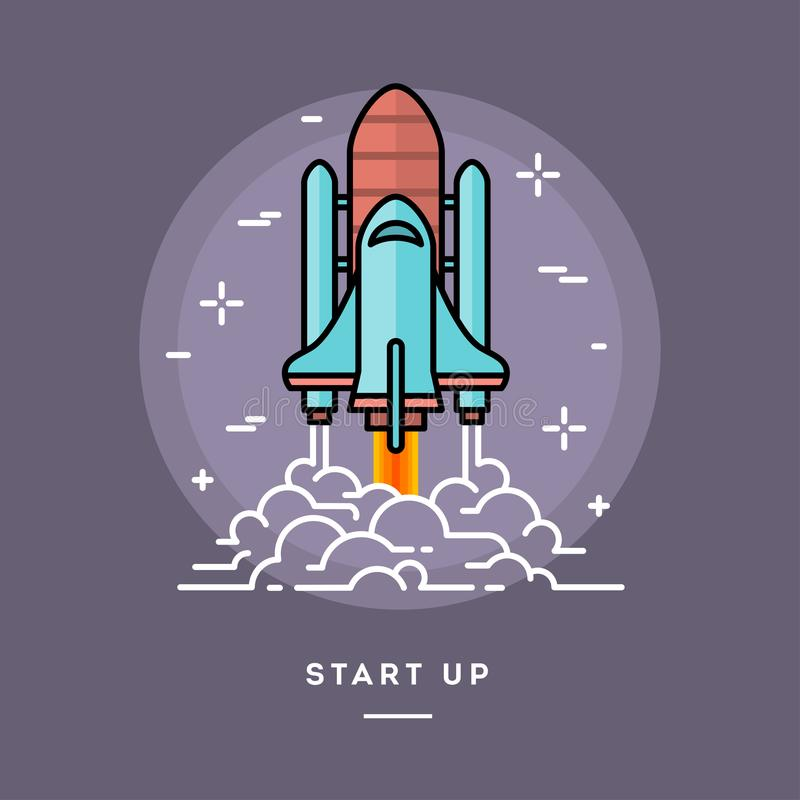 Rocket launching as a metaphor for start up business, line flat stock illustration