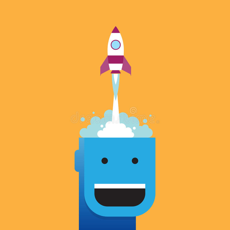 Rocket Launching Mind stock illustration