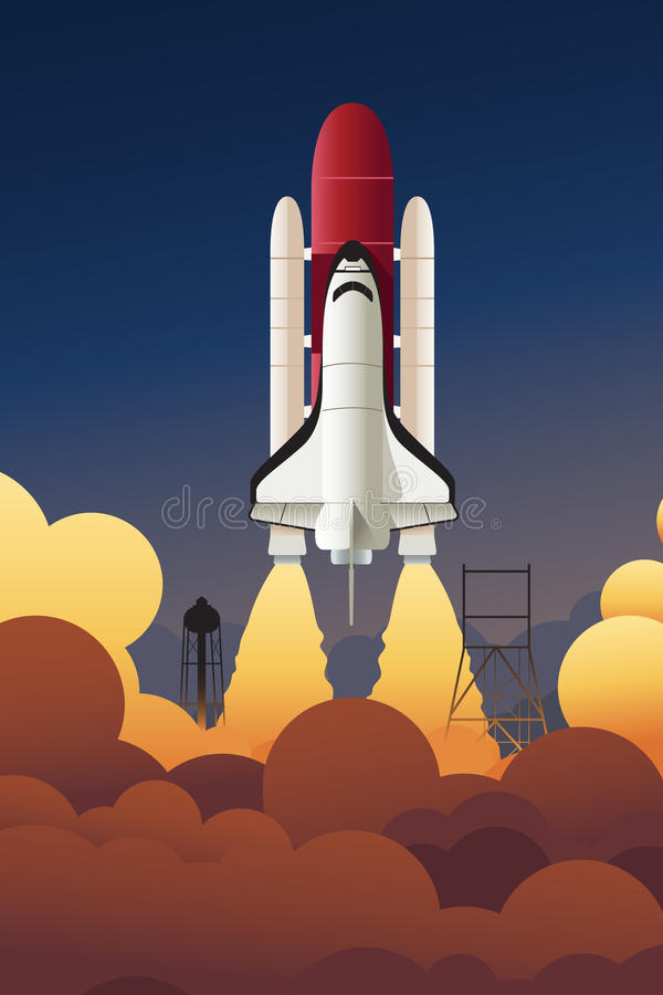 Rocket launching into space. A vector illustration of rocket launching into space stock illustration
