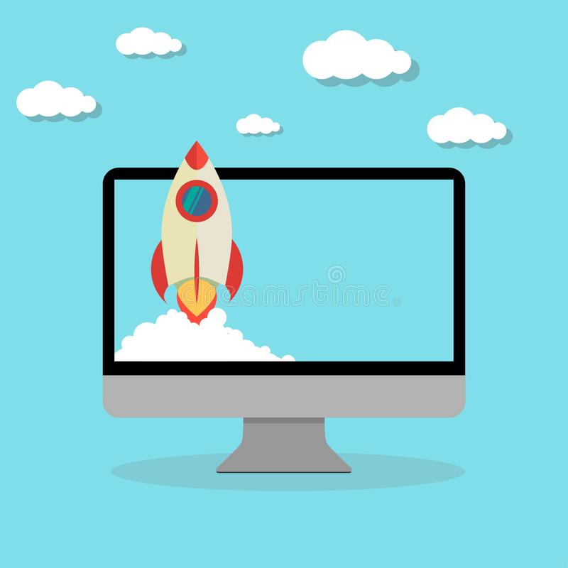 rocket launching start up computer flat design royalty free illustration