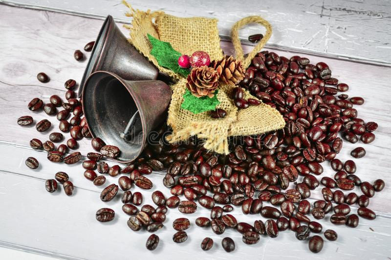 coffe beans and jingle bels royalty free stock photo