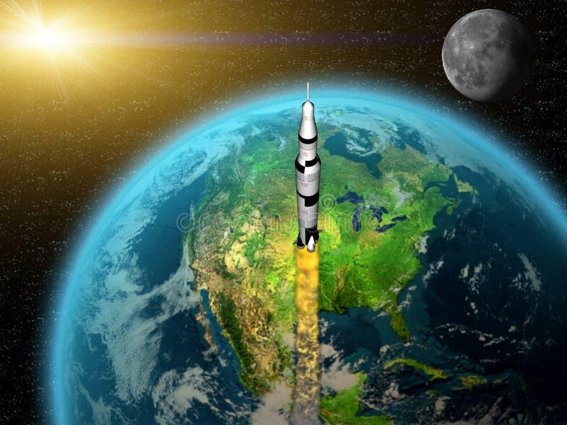 Rocket leaving earth vector illustration
