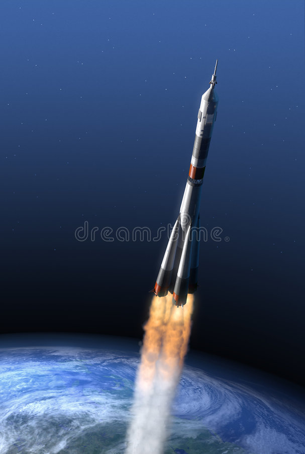 Rocket leaving terrestrial gravitation royalty free illustration