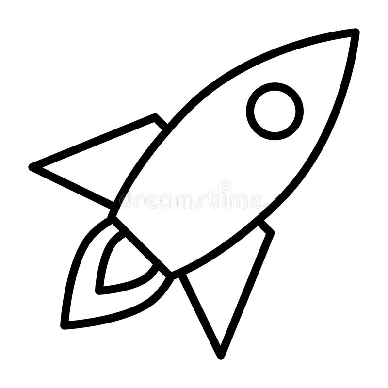 Line Art Rocket : Rocket line icon business startup symbol vector