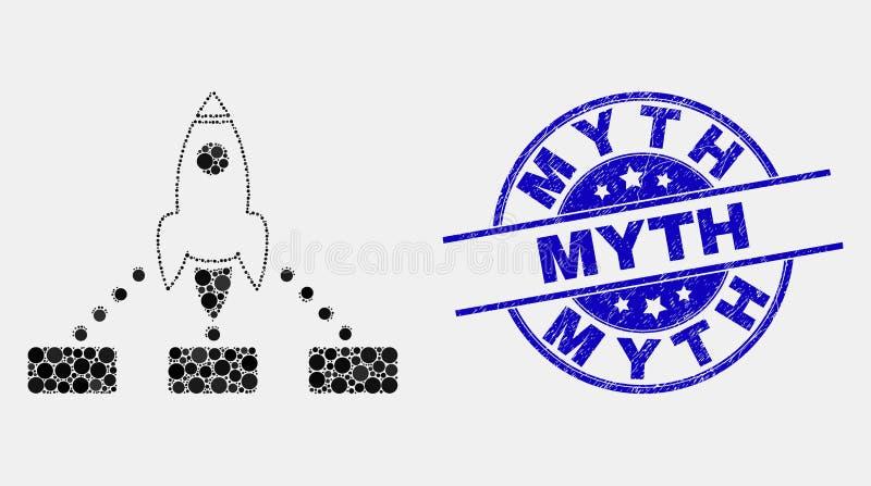 Rocket Links Icon y sello punteados vector del mito de la desolación libre illustration