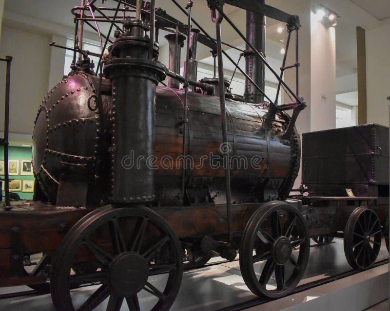 Rocket Locomotive de Stephenson, 1829 en el museo de ciencia fotos de archivo libres de regalías