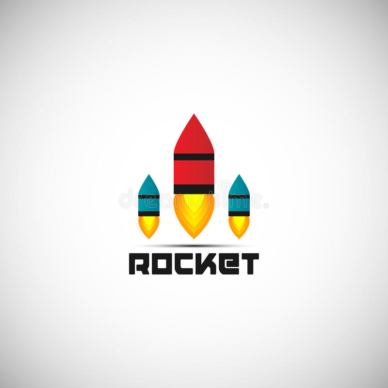 Rocket Logo Design With 3 Color Vector Symbol For Professional