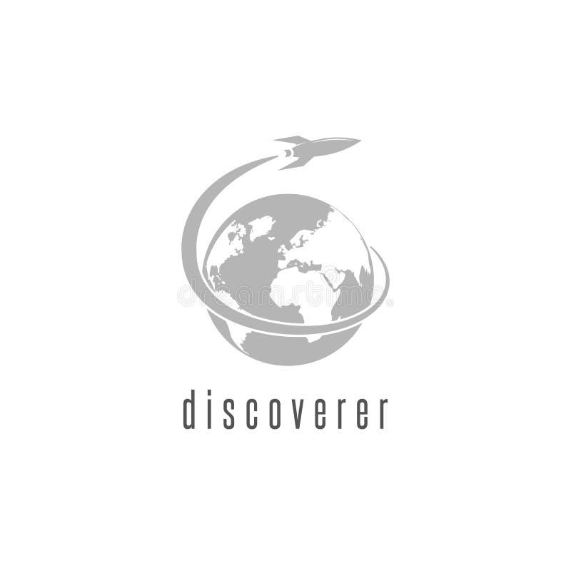 Rocket-Logoweltentdeckungs-Raumfähreraumschiff, internationaler Tagesmenschliches Abstands-Flugemblem lizenzfreie abbildung