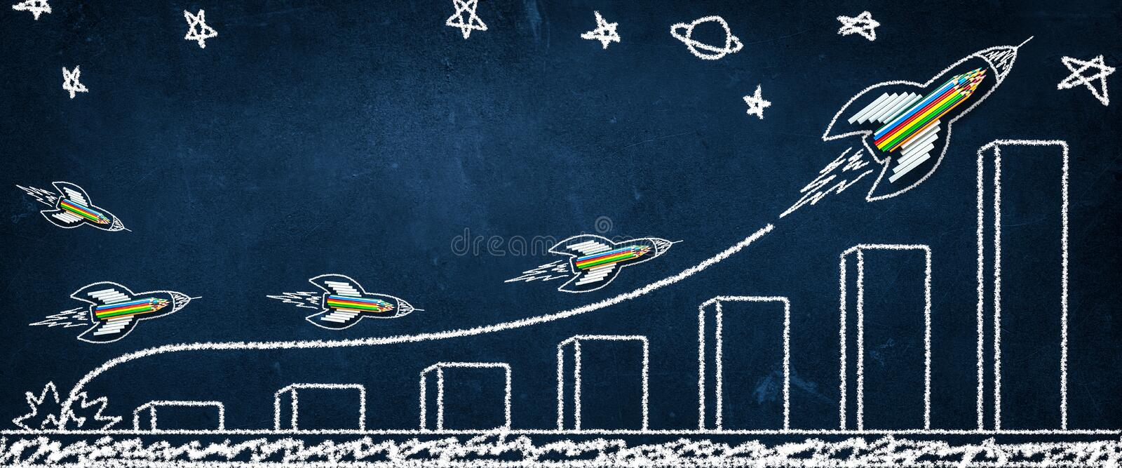 Rocket Made From Pencils And Chalk Leading Others Up Growth Chart Drawing royalty free stock image