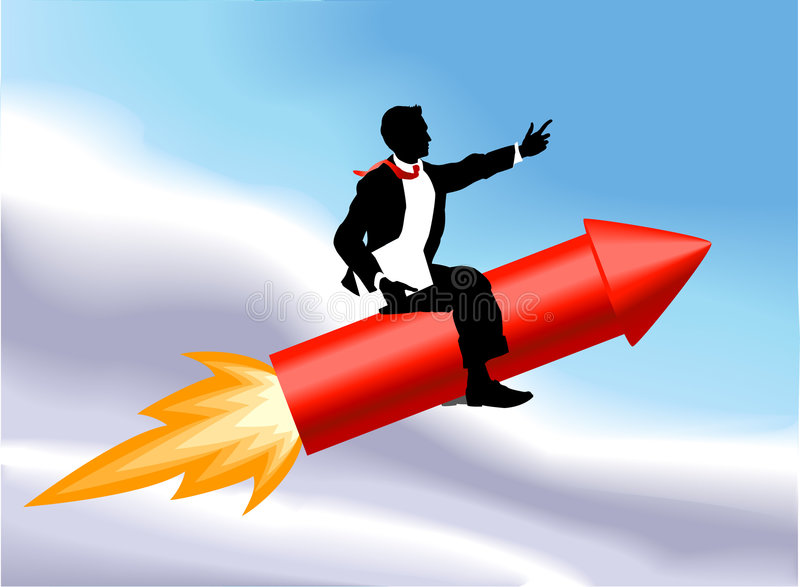 Rocket man. A business man sitting astride a rocket and flying through the air. No meshes used royalty free illustration