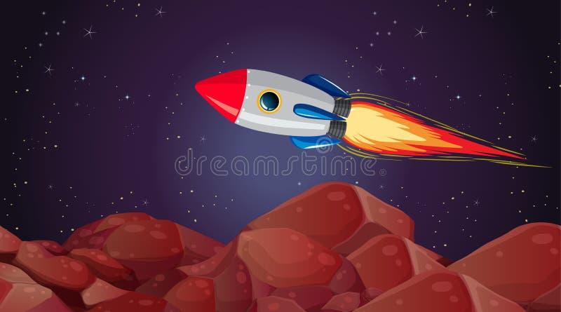 Rocket mars landscape scene. Illustration royalty free illustration