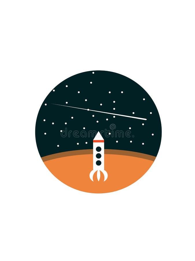 Rocket a Marte en el cielo stock de ilustración