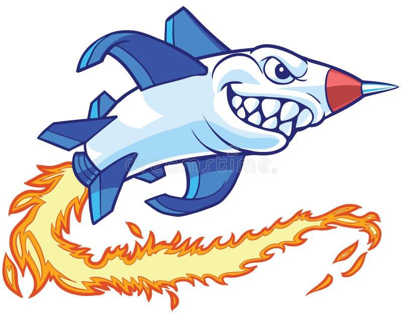 Rocket Mascot Vetora Cartoon Illustration ilustração stock