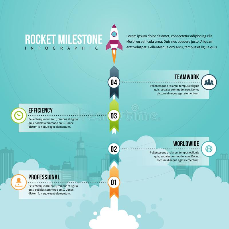 Rocket Milestone Infographic. Vector illustration of Rocket Milestone Infographic design element royalty free illustration
