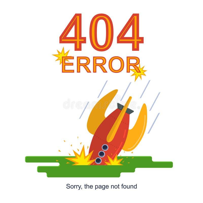 Rocket Missile Crashed Error Not Found Concept Card. Vector stock illustration