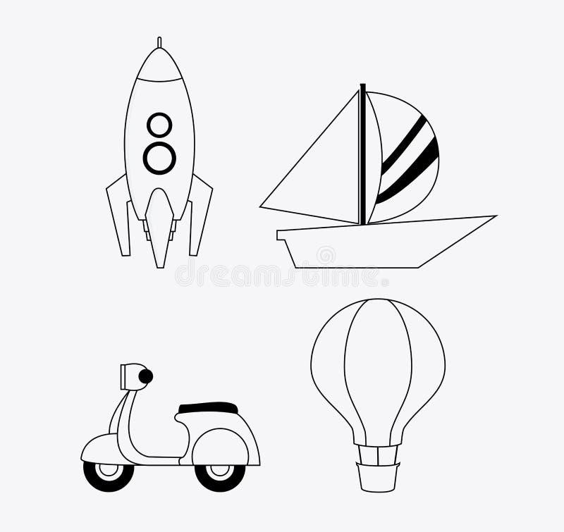 Rocket motorcycle sailboat hot air balloon icon. Vector graphic. Rocket motorcycle sailboat hot air balloon icon. black and white , vector vector illustration