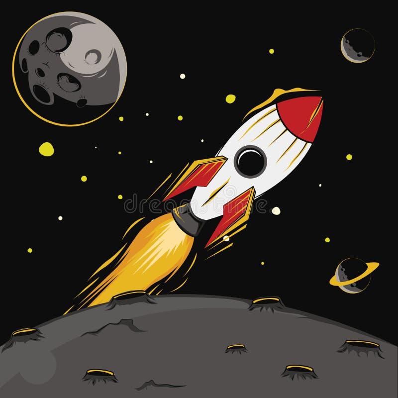 Rocket na ilustração do espaço imagem de stock royalty free