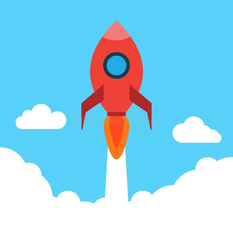 Rocket na ilustração lisa do estilo, voo do foguete sobre a nuvem cenário bonito com nuvens brancas ilustração do vetor
