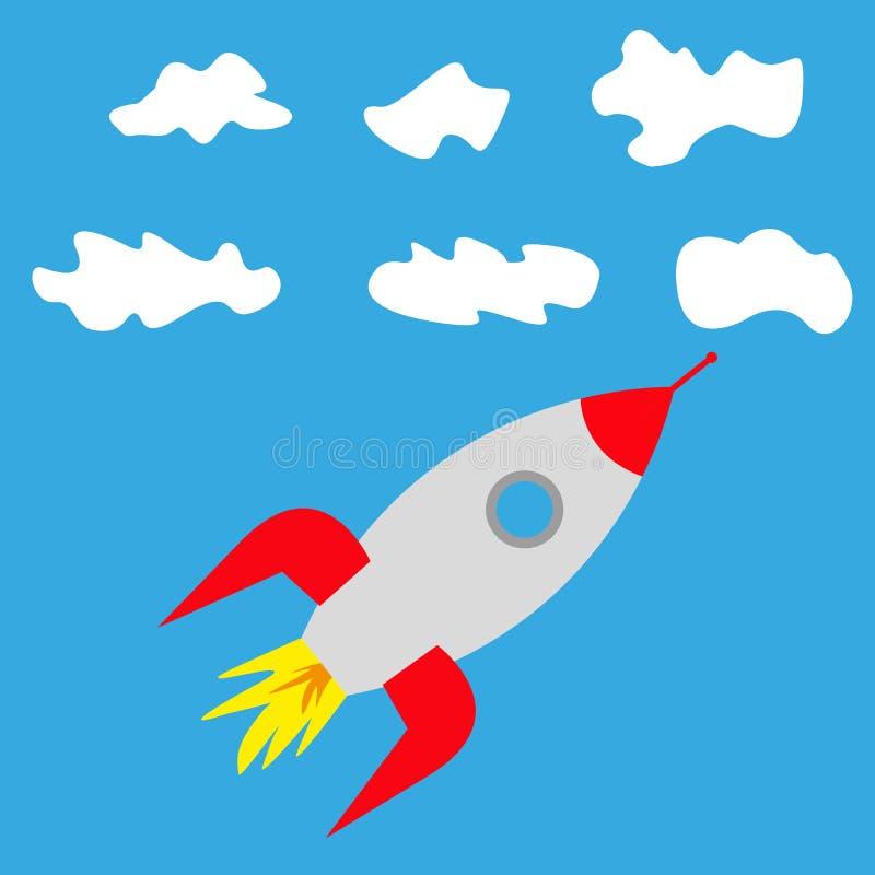 Rocket nas nuvens no céu ilustração royalty free