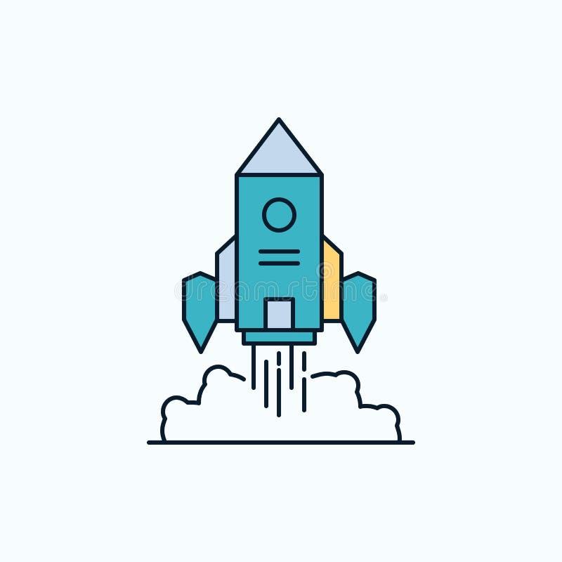Rocket, nave espacial, inicio, lanzamiento, icono plano del juego muestra y s?mbolos verdes y amarillos para la p?gina web y el a stock de ilustración