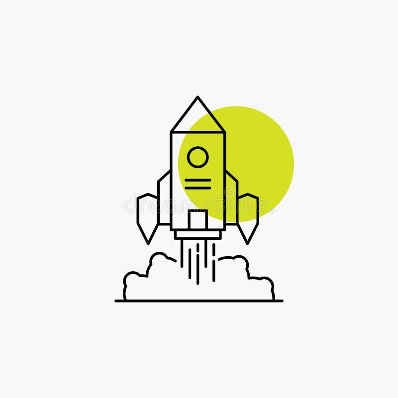 Rocket, nave espacial, inicio, lanzamiento, línea icono del juego stock de ilustración