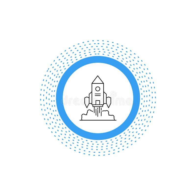 Rocket, nave espacial, inicio, lanzamiento, l?nea icono del juego Ejemplo aislado vector stock de ilustración