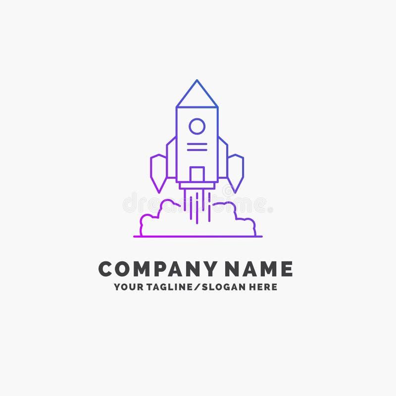 Rocket, nave espacial, inicio, lanzamiento, negocio púrpura Logo Template del juego Lugar para el Tagline stock de ilustración