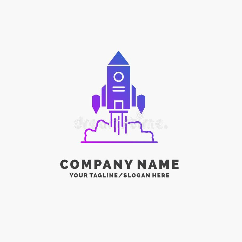 Rocket, nave espacial, inicio, lanzamiento, negocio p?rpura Logo Template del juego Lugar para el Tagline libre illustration