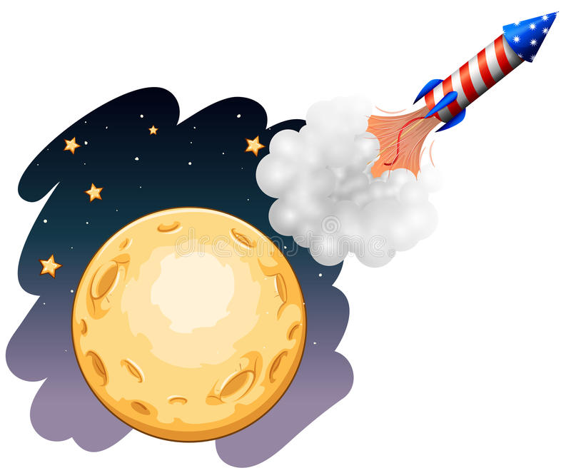 A rocket near the moon vector illustration