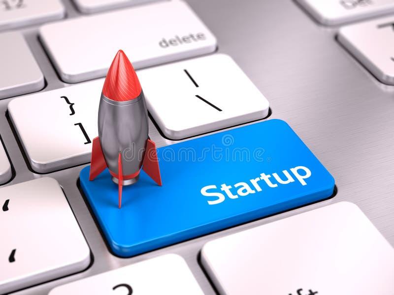 Rocket no botão startup azul no teclado - comece acima o conceito ilustração stock