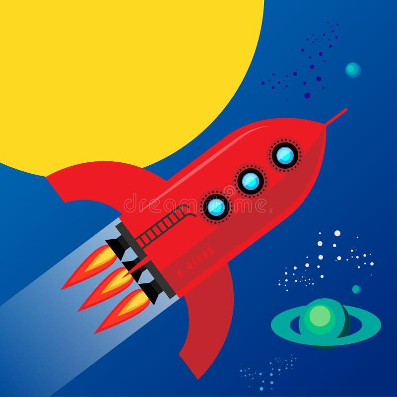 Rocket no espaço ilustração stock