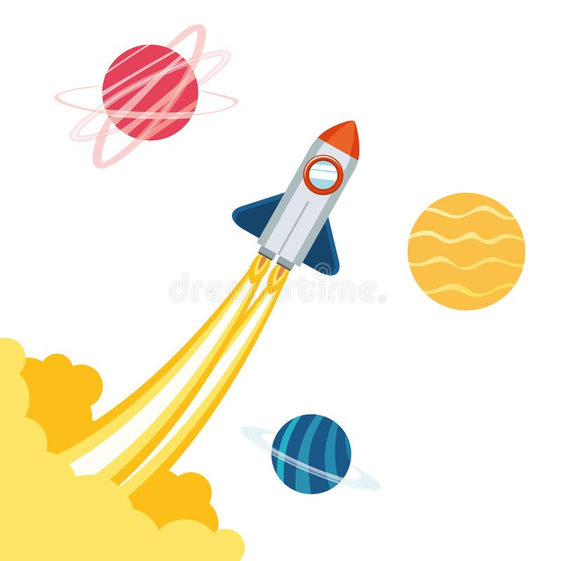 Rocket no espaço com os planetas do sistema solar ilustração royalty free